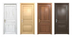 Quatro portas de cores diferentes ilustram os tipos de puxadores para portas