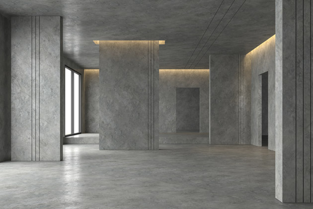Projeto com paredes e chão de cimento queimado