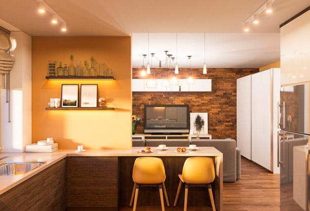 Sala e cozinha com revestimento na decoração