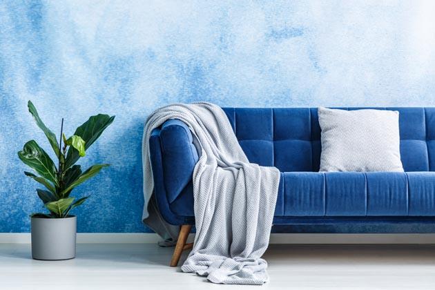 pintura de parede azul texturizada